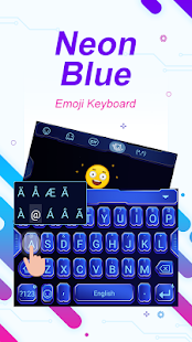 Neon Blue Theme&Emoji Keyboard - náhled