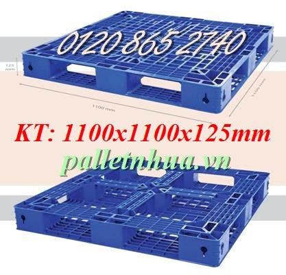 Pallet nhựa 1100x1100x125mm - màu xanh