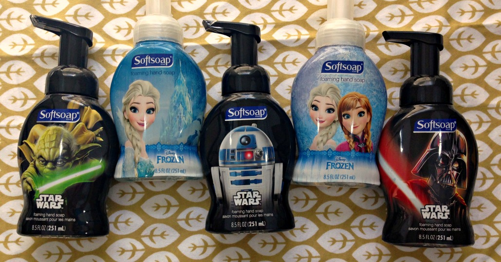 Dress up your kids classroom sink with Star Wars or Disney Frozen Softsoap Foaming Hand Soaps! A unique school supply gift basket idea for teachers.