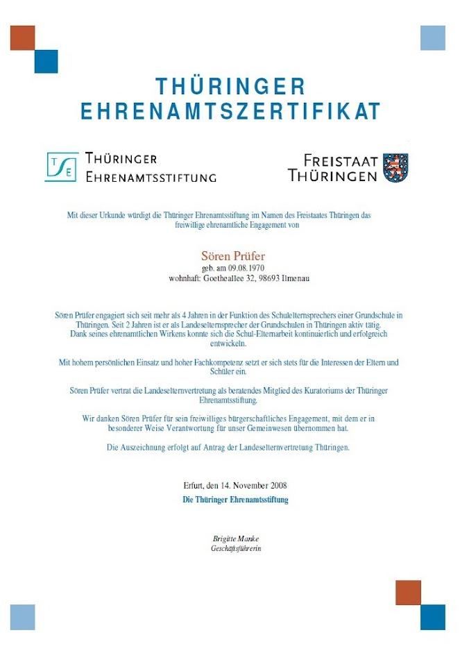 Thüringer Ehrenamtszertifikat