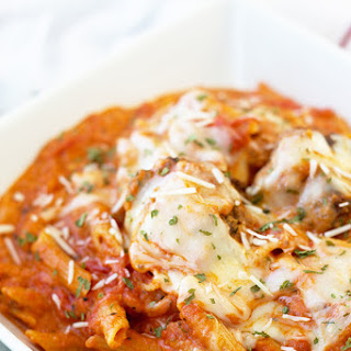Meatballs and Penne in Creamy Marinara Sauce
