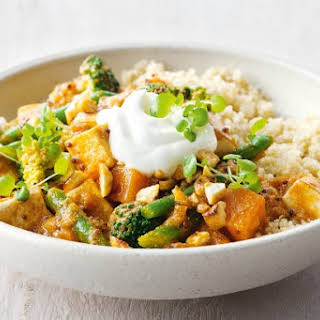 Sweet Potato, Broccoli, Tofu And Cashew Curry.