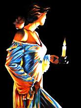 Photo: 407, Нетронина Наталья, Серия Он и ОНА – Ночной гость, Масло, замша (живопись по бархату), 40х30см,