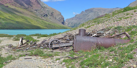 """Photo: Before the park was established, there was a copper mine at the head of the lake. According to legend the mine received its name when two prospectors, L. C. Emmonds and Hank Norris, after staking their claim, had a lunch of cheese and crackers on the site. - Then the lake was eventually also named """"Cracker""""."""