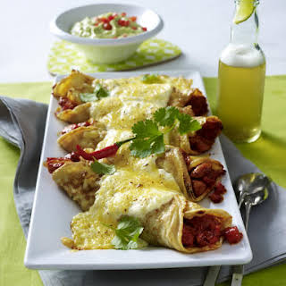 Chicken Enchilada Crepes with Guacamole.