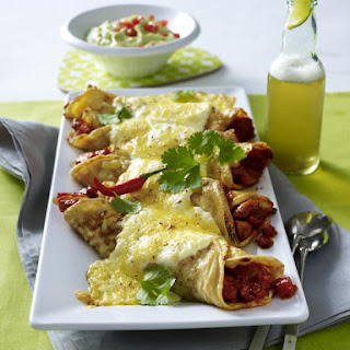 Chicken Enchilada Crepes with Guacamole.