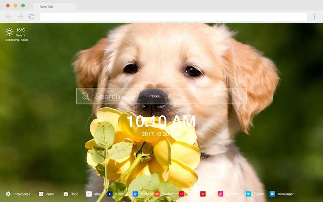 Retriever New Tab Page HD Hot Pets Theme
