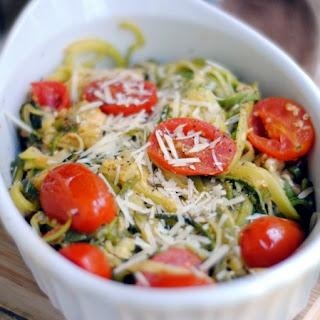 Parmesan Zucchini Noodles with Tomato & Basil.