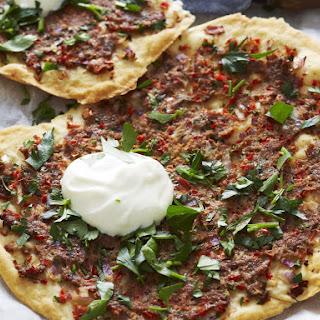 Crispy Turkish Lamb Pizzas.