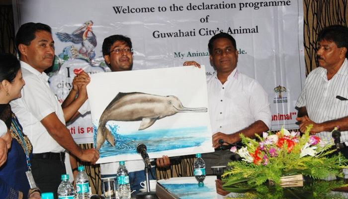 Animal Mascot, Guwahati, Guwahati- Animal City, Kamrup Metropolitan District Administration, Assam, M Angamuthu, Gangetic River dolphins, black softshell turtle, Bor Kaso, Hargila