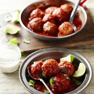 Mexican Chicken Meatballs With Tomatillo Sauce.