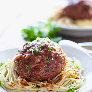Mozzarella Stuffed Meatball Pasta.