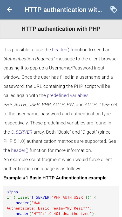 PHP Documentation (Learn PHP)- screenshot