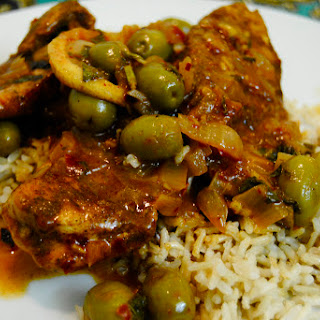 Moroccan Chicken with (Preserved) Lemon, Green Olives and Harissa.