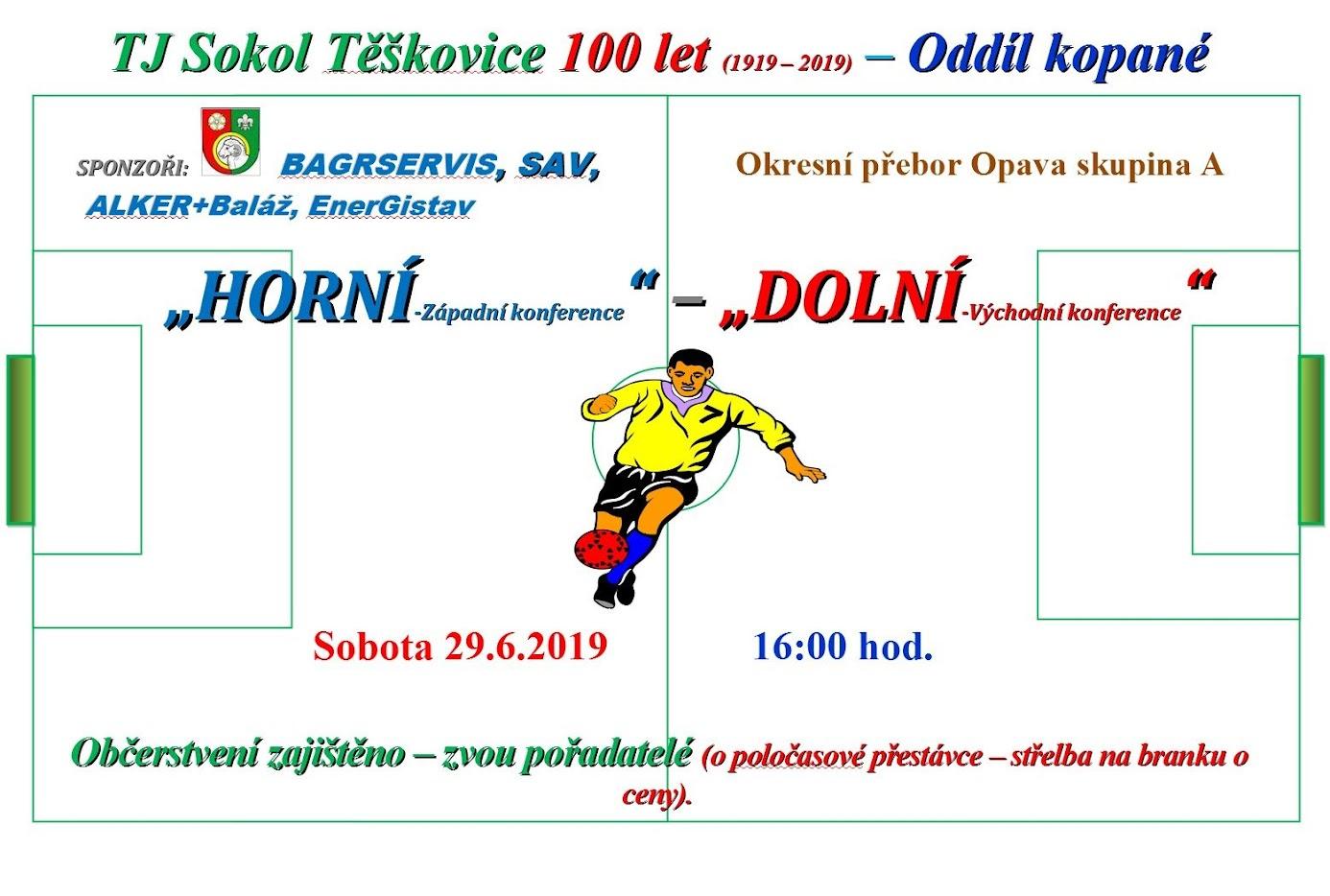 Exhibiční utkání ve fotbale: Horní konec vs. Dolní konec