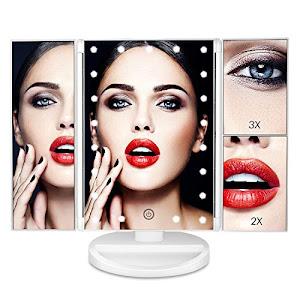 Oglinda pliabila cu LED si touch, ideala pentru machiaj