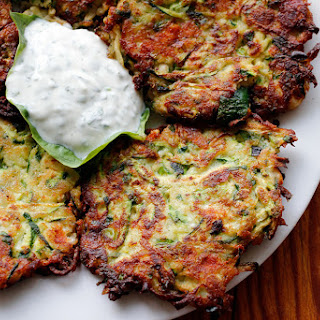 Crispy Zucchini Fritters with Lemony Yogurt-Herb Dip