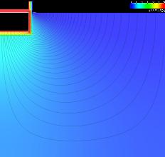 Photo: AnTherm: Zweidimensionale graphische Auswertung mit Wärmestromlinien des konditionierten Kellerbauteils mit Regelerdreich. Innentemperatur beträgt 20°C, Außentemperatur 7,98°C (Jahresmittel). Der Abstand der Wärmestromlinien beträgt 0,2W/m