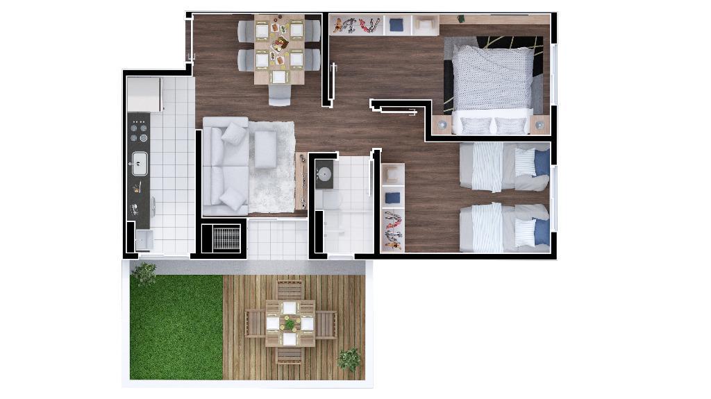 Apto. 2 dorms. c/ garden, sacada e churrasqueira - Campo Largo