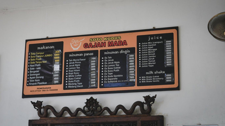 Daftar harga Soto Gajah Mada, harga sesuai artikel di tulis