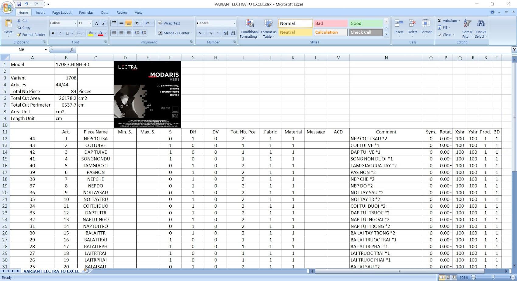 Hướng Dẫn Export Variant Lectra Modaris To Excel 1