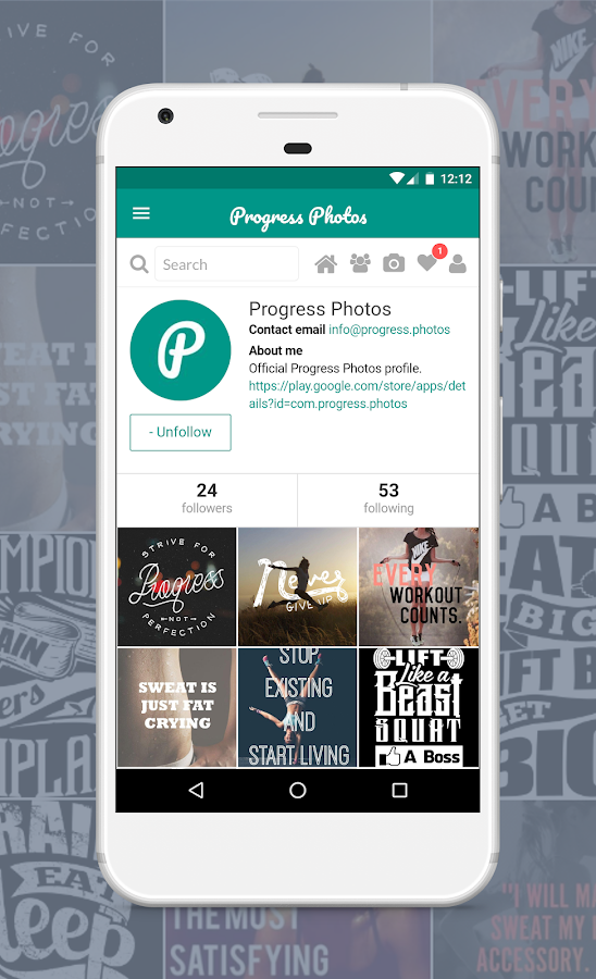 Progress Photos - Social Fitness App- screenshot