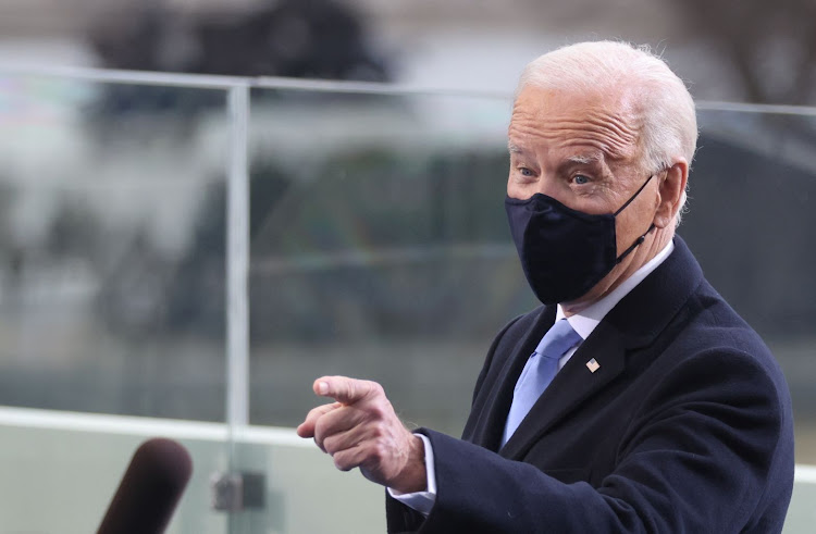 US President Joe Biden on the West Front of the US Capitol in Washington, January 20, 2021.