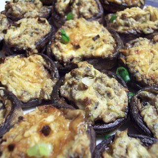 Cream Cheese & Pesto Stuffed Mushrooms.