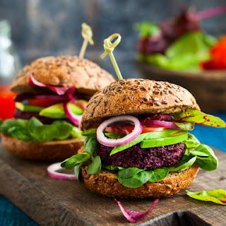 Vegan Black Bean Burger with Beets and Quinoa.