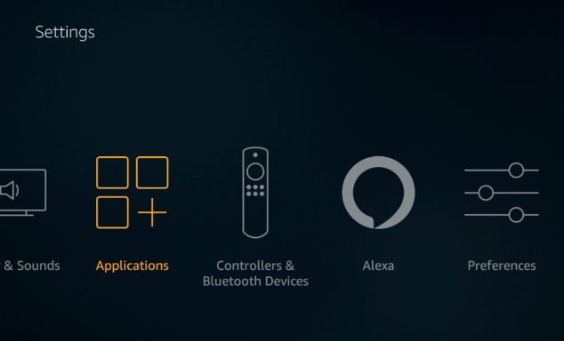Black screen with Applications (3 boxes and a plus sign) selected in yellow, to the left of Controllers & Bluetooth Devices.
