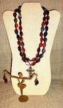 Photo: <BEREHYNYA> {Great Goddess Protectress} unique one-of-a-kind statement jewellery by Luba Bilash ART & ADORNMENT  # 116 KOLOMYYA/КОЛОМИЯ - brass Hutsul cross, fantasy agate, copper, rose gold vermeil $145/set SOLD