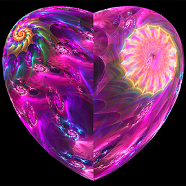 Purple Heart by Cassy 67 - Illustration Abstract & Patterns ( purple, swirl, digital art, umbrella, spiral, fractal, digital, fractals )