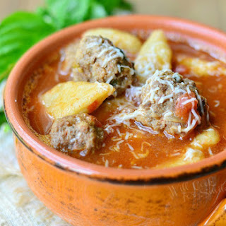 Spicy Meatball & Gnocchi Soup.