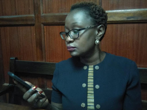 Former Senator Joy Gwendo at the Anti-Corruption court, Milimani, Nairobi December 7, 2018. /COLLINS KWEYU
