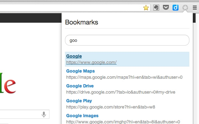 Search Bookmarks for Chrome