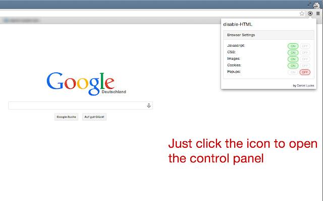 Captura de tela do plug-in disable html funcionando. Ele exibe a janela do plug-in com as opções de desabilitar scripts, css, imagens, cookies e pop-up