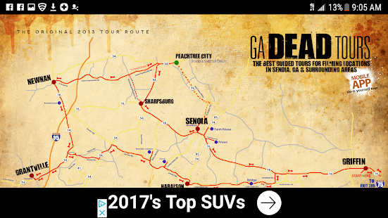 GA DEAD TOURS - TWD LOCATIONS MAP- screenshot thumbnail