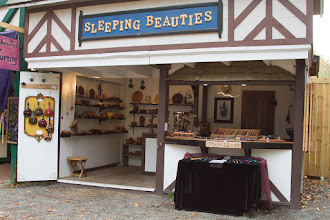 Photo: Here is his booth at the Maryland Renaissance Festival where his wands became a big hit and moved his woodworking and turning into unexpected new directions.