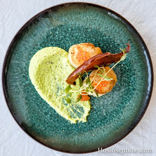 Seared Scallops with Trout Roe and Green Pea Puree