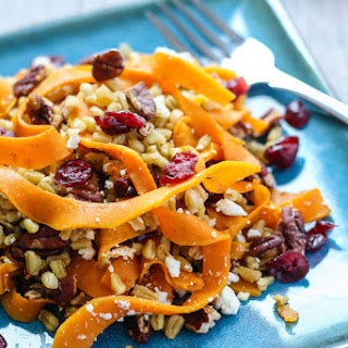 Butternut Squash Freekeh Salad with Cranberries, Feta, and Pecans Recipe