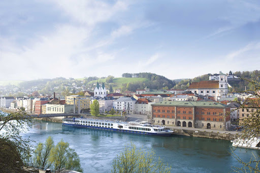 River Princess docks for a shore excursion in the picturesque town of Passau, Germany.