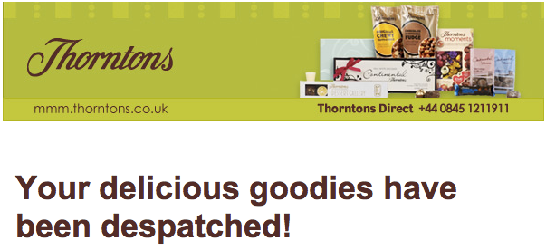 thorntons post purchase email