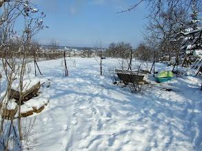 Photo: the bath tub was placed out in the garden  még tél volt, de a kádat már be tudtuk állítani a helyére