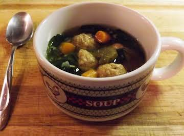 Chicken Meatball Escarole Soup in the Crock Pot