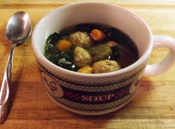 Chicken Meatball Escarole Soup In The Crock Pot Recipe