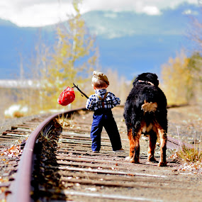A boy and his best friend by Antonio Lobato - Babies & Children Toddlers ( fall colors, children, child portrait, children candids, child, mountains, best friends, nature, mans best friend, fall, outdoors, childhood, outside,  )