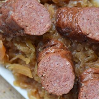 Crockpot German Sauerkraut with Brats.