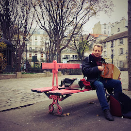 Parisian Musician by Karissa Swanson - Instagram & Mobile iPhone ( paris, accordian, musician )