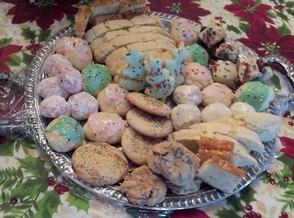 This Is My Tray Of Cookies Made For Christmas. I Make Cookies Through Out The Year, But Christmas I Make Them All The Week Of Christmas..the Biscotti Are On The Top Of The Tray...i Will Be Listing The Others Also..enjoy And Keep On Baking!!!