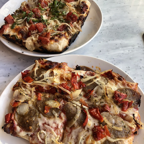 We went back for a second round of pizzas, as they were SO good. In front - the fennel sausage and Calabrian Chile, in back the Kahlua Pork. Both excellent.